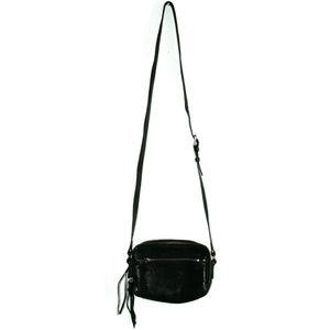Frye Zip Camera Black Leather Crossbody Purse